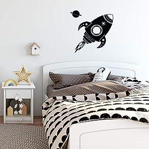"Vinyl Wall Decal Sticker Art - Spaceship Rocket and Planet - 28"" x 16"" - Kids Room Wall Art - Children's Bedroom Decor - Boys Nursery Decoration"