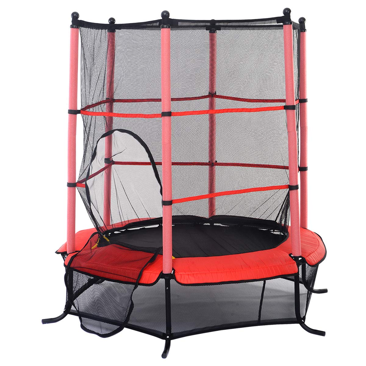 GYMAX Mini Trampoline, 55'' Round Rebounder Exercise Trampoline for Kids with Safety Pad Enclosure Combo (Red)