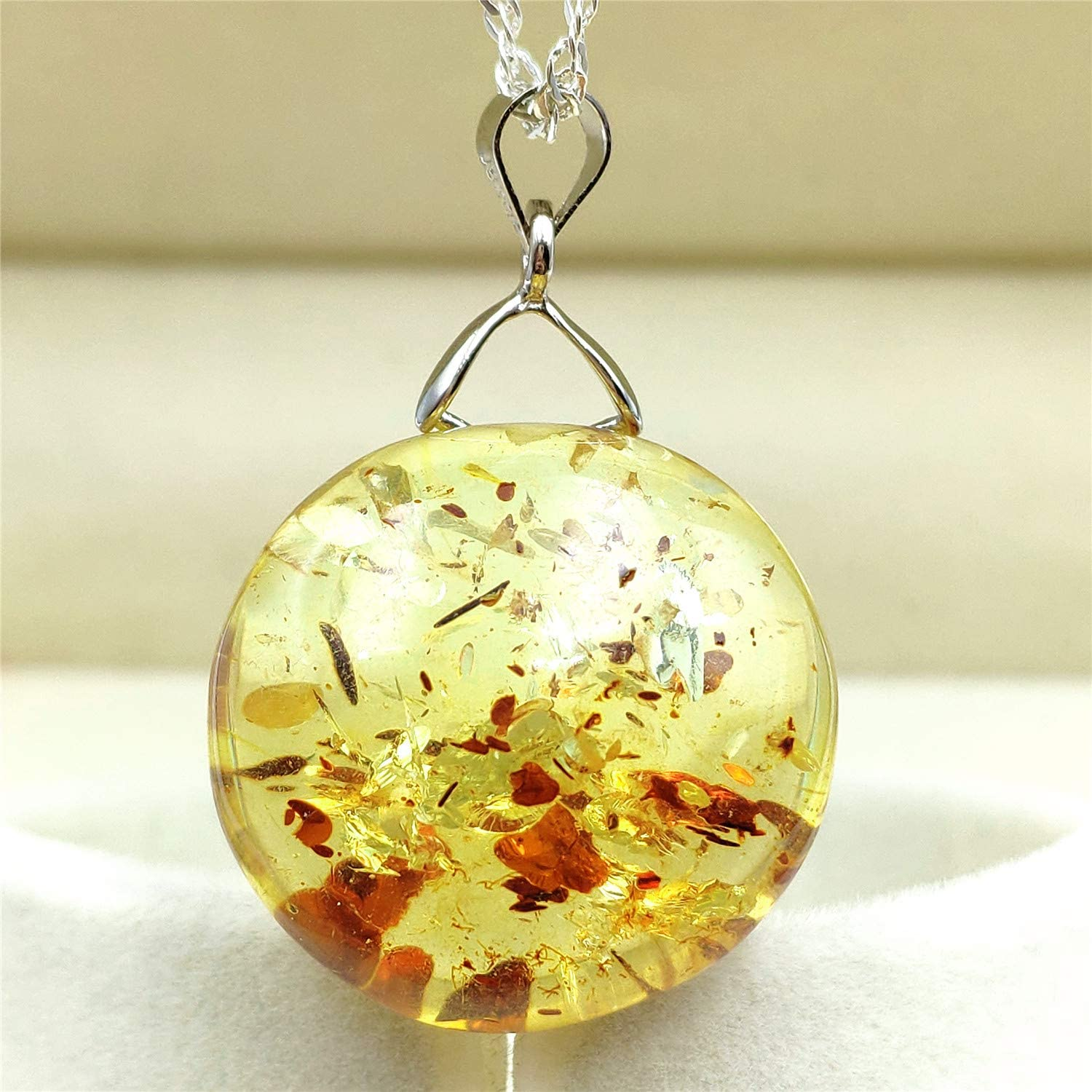Genuine Natural Piebald Amber Yellow Round Gemstone Women Flower Pendant 24x24x12mm AAAAA