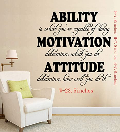 Chris Wall Quotes Sayings Decals Ability Attitude Motivation Inspirational Removable Vinyl Sticker Kids Room Living Room Bedroom Classroom Office