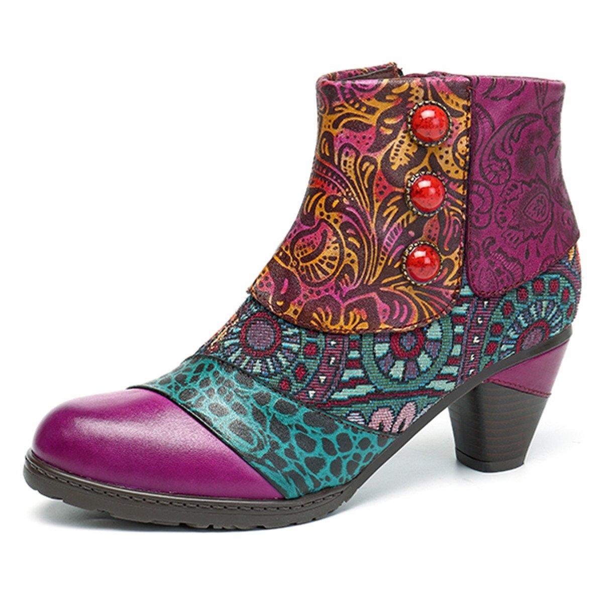 Socofy Block Heel Ankle Booties,Women's Bohemian Splicing Pattern Side Zipper High Block Heel Ankle Leather Boots B0785KLKGP 5 B(M) US|Purple