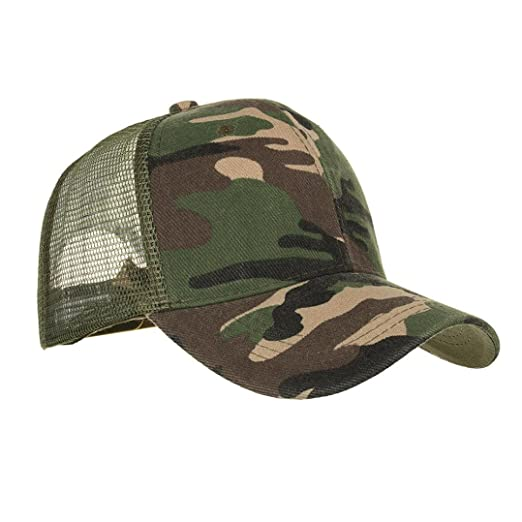 77036d08647d7 Summer Camo Mesh Cap Hats Men Women Vintage Sport Sun Hiking Baseball Caps  (Army Green