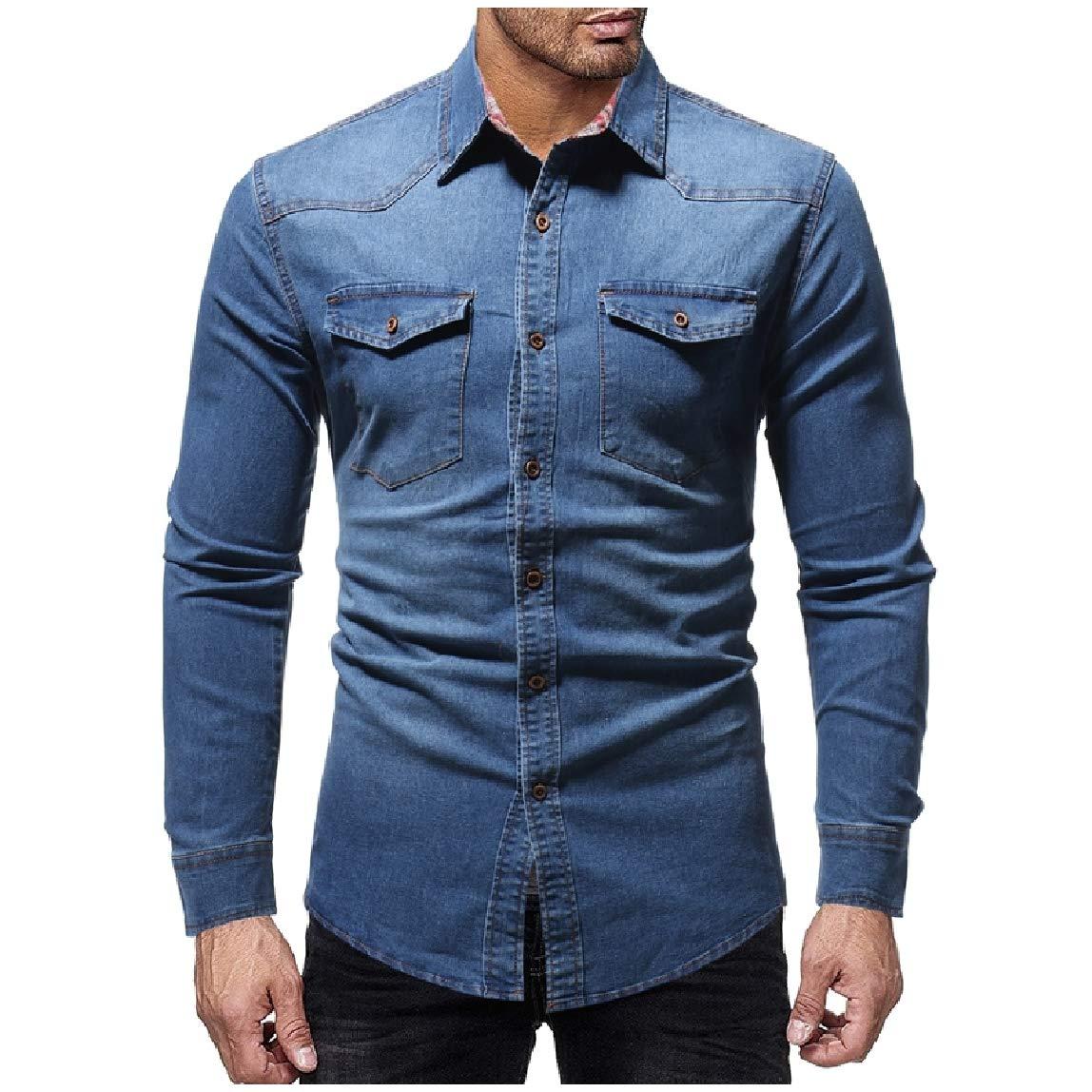 Mirrliy Mens Winter Casual Turn Down Collar Long-Sleeve Regular-Fit Denim Shirt