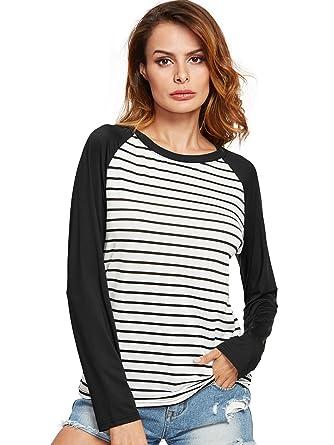 1fce60cc9666 Amazon.com  Romwe Women s Casual Color Block Tee Raglan Striped ...