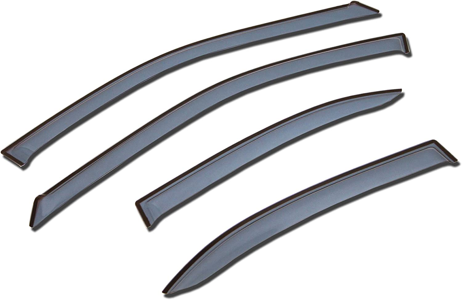 TuningPros LGWV-182-2 Out-Channel Window Visor Deflector Rain Guard Light Grey 4-pc Set