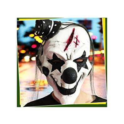 Amdxd Schmuck Latex Maske Schwarz Weiss Narben Hut Clown Halloween
