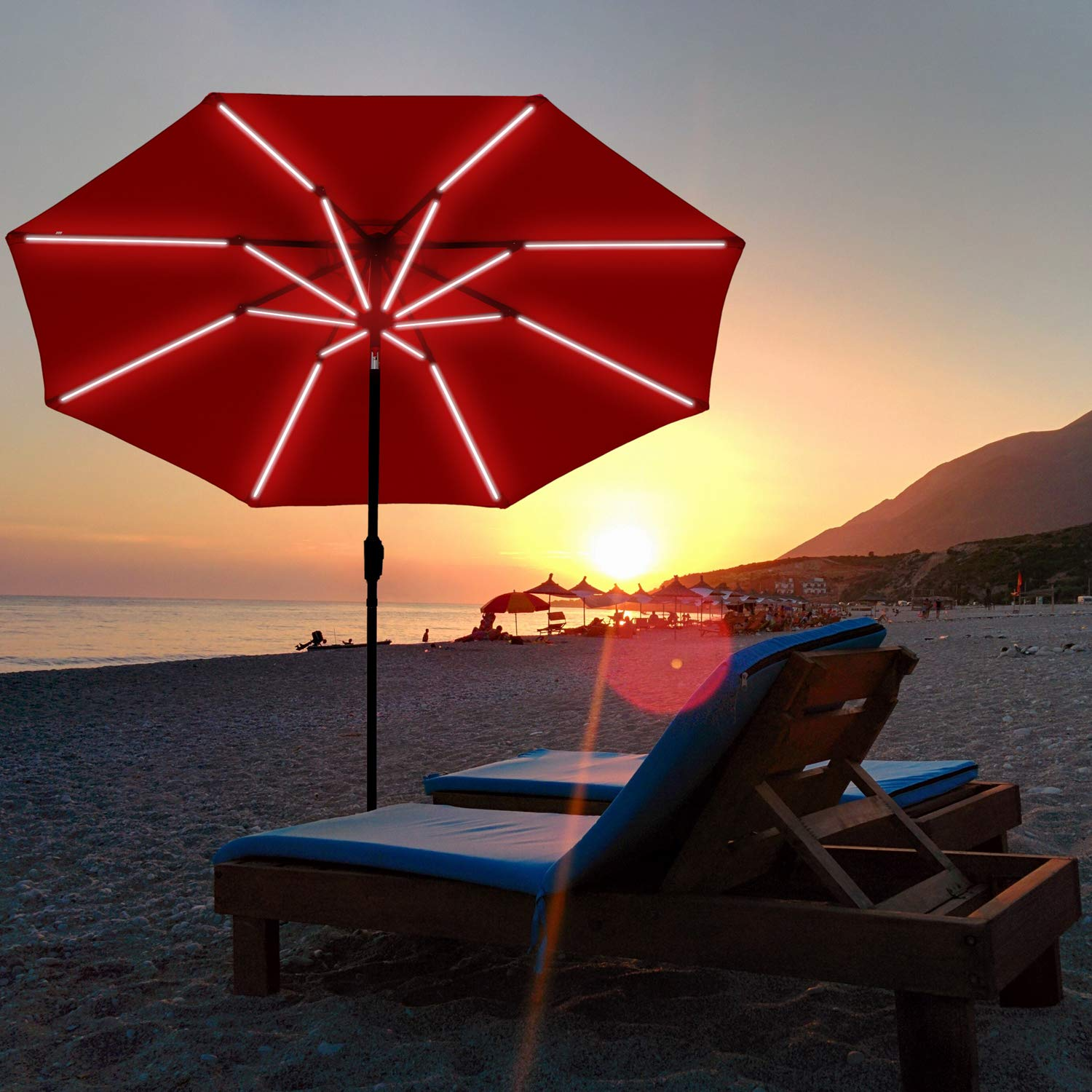 SUNBRANO Deluxe Solar Powered LED Strip Lighted Patio Umbrella, 9ft Market Table Umbrella w Tilt and Crank, 8 Ribs, Red