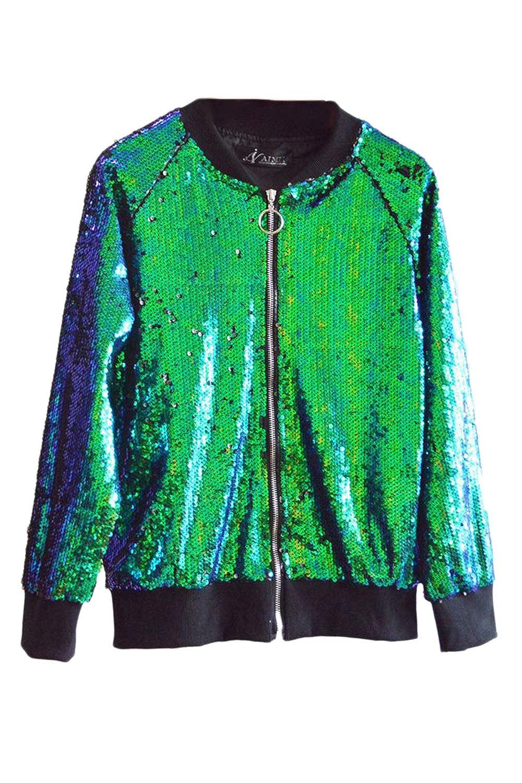 b272b0c7f Amazon.com: Vepodrau Women Mermaid Sequin Bomber Jackets Shiny ...
