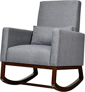 Giantex Armchair Multifunctional High Back Chair W/Fabric Cushion,Wooden Tapered and Rocking Legs Both Included Dual Purpose for Living Room,Bedroom,Office Upholstered Accent Chair (1, Dark Gray)