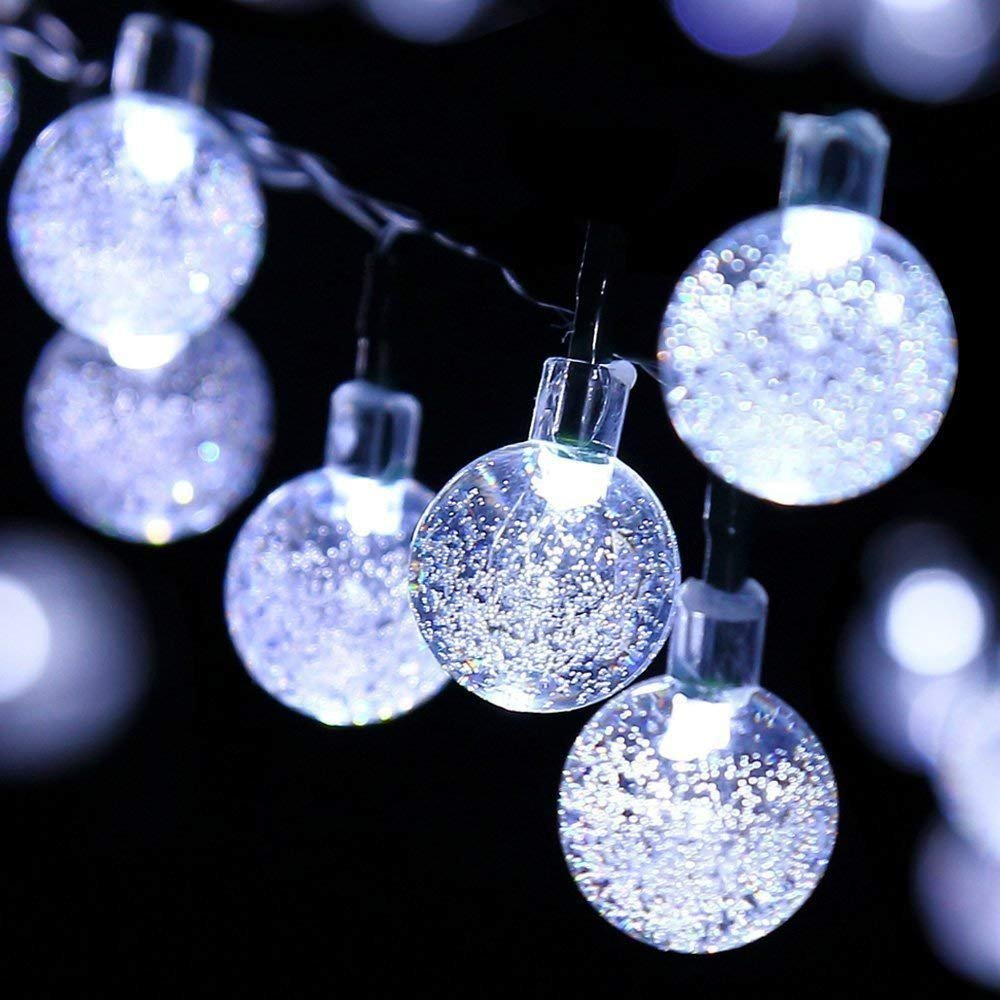Crystal String Lights, DINOWIN Outdoor Solar String Lights 7M 50LED Solar Crystal String Lights Waterproof with 2 Lighting Mode for Christmas, Home, Garden, Indoor Outdoor Decoration (Cold White)