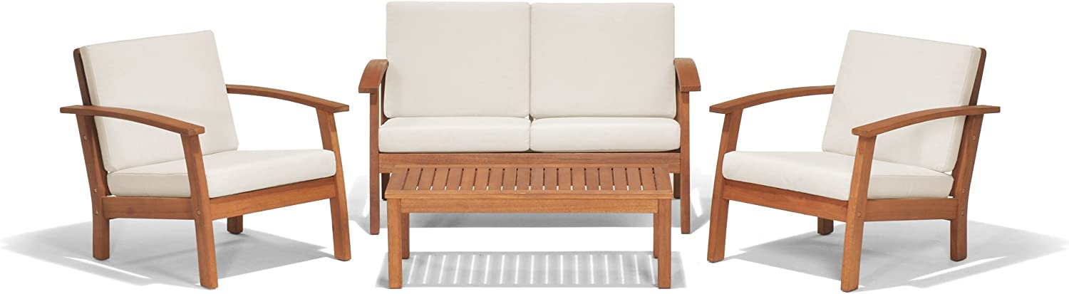 Kevin Amazonia Murano 4-Piece Outdoor Conversation Set | Eucalyptus Wood | Ideal for Patio and Indoors, 50Lx32Wx25H, Off-White