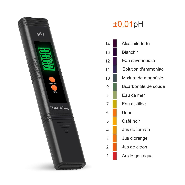 tacklife PM01 avanzada PH Metro Digital acidimètre portátil medición de líquido/2 Puntos de Calibration/rétro-eclairage/2 pilas botones: Amazon.es: Hogar