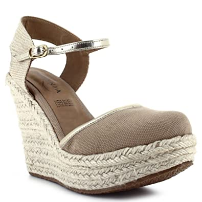 3b6280fb2339 Ceresnia Adult Beige Ankle Strap Closure Wedge Trendy Sandals 6 Womens