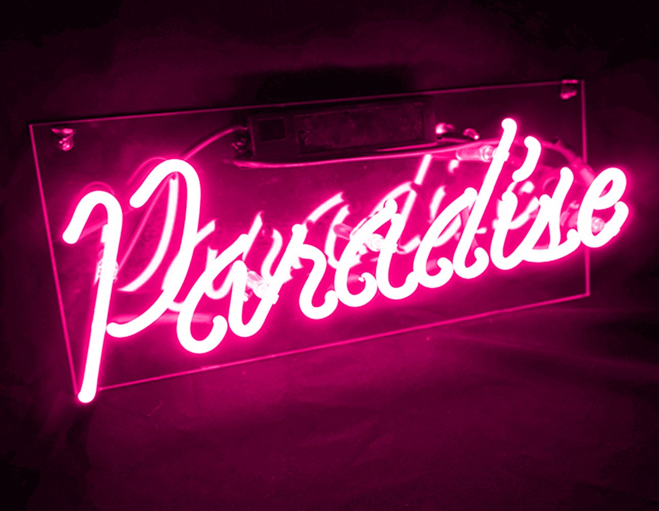 Cool Decorative Signs Pink Paradise Real Glass Neon Light Sign Lamp KUKUU