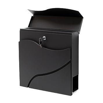 Buzón correo diseño moderno V27 Negro Bandeja soporte periódico Cartas Correspondencia Postal Casa: Amazon.es: Bricolaje y herramientas