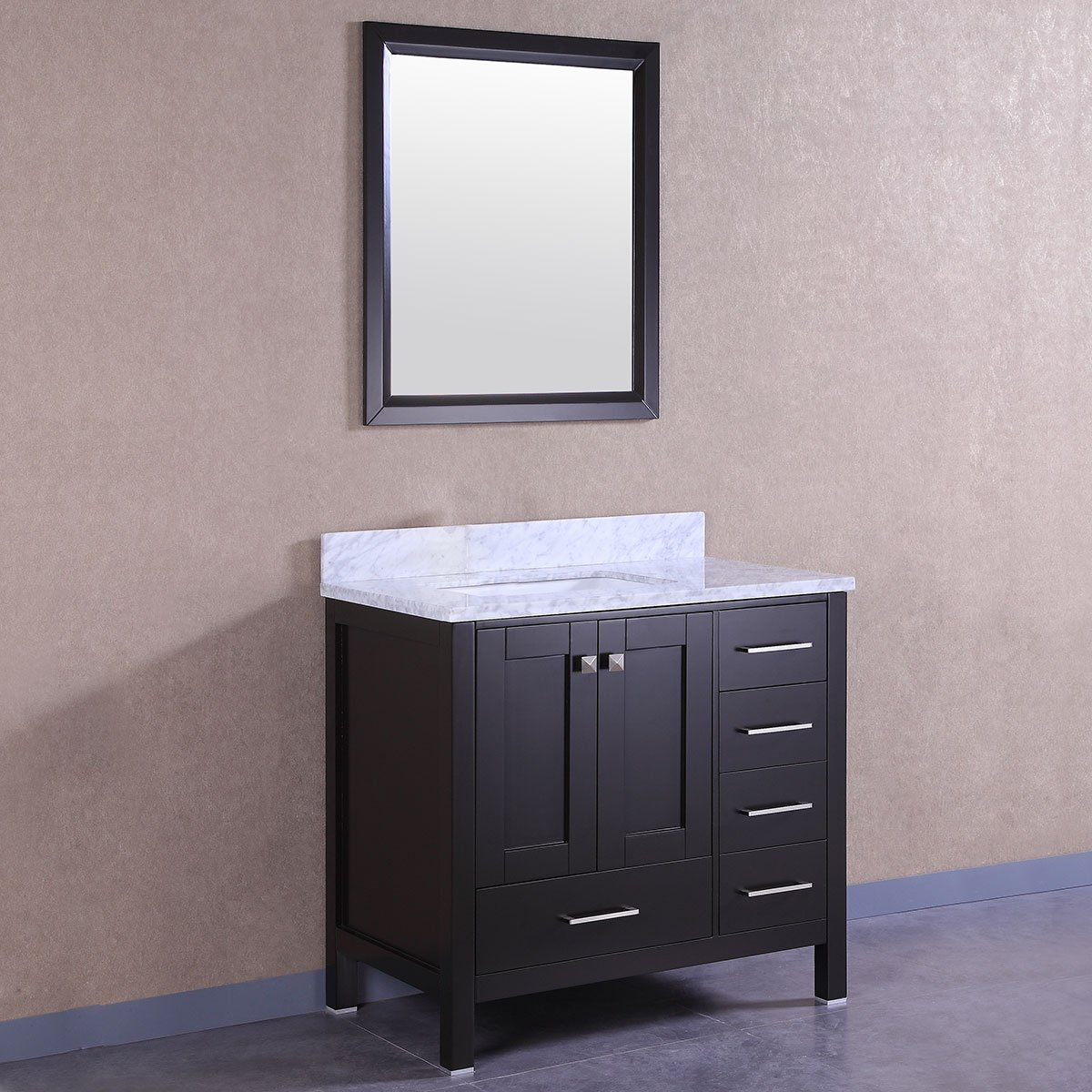 Decoraport 36 In. Freestanding Bathroom Vanity Set with Single Sink and Mirror (A-T9199-36E)