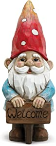 Napco Welcome Smiling Gnome Cherry and Pale Blue 5 x 14 Resin Stone Garden Figurine