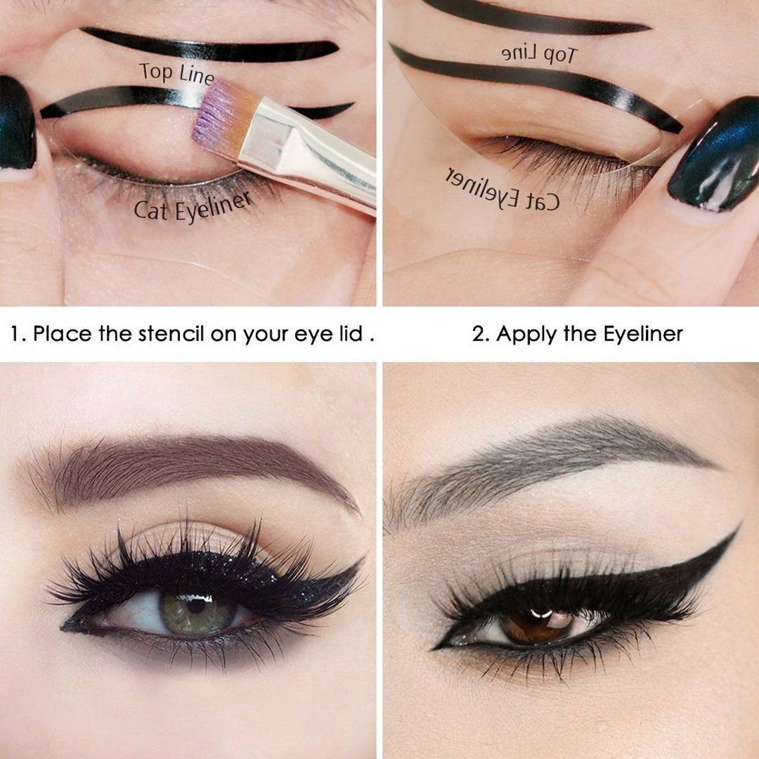 Buy Fok Cat Smokey Eyes Makeup Eyeliner Stencils Repeatable Reusable DIY Eye Makeup Card Template Tools Kit (2 Pieces) Online at Low Prices in India ...