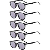 Eyekepper 5-Pack Spring Hinges Reading Glasses Sunshine Readers Grey Lens +0.5