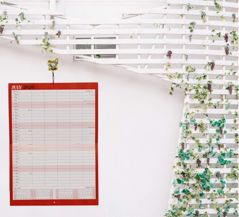 s/érie Boldtype par page Arpan Calendrier mensuel 2020 1 mois par page Organiseur mural /à suspendre