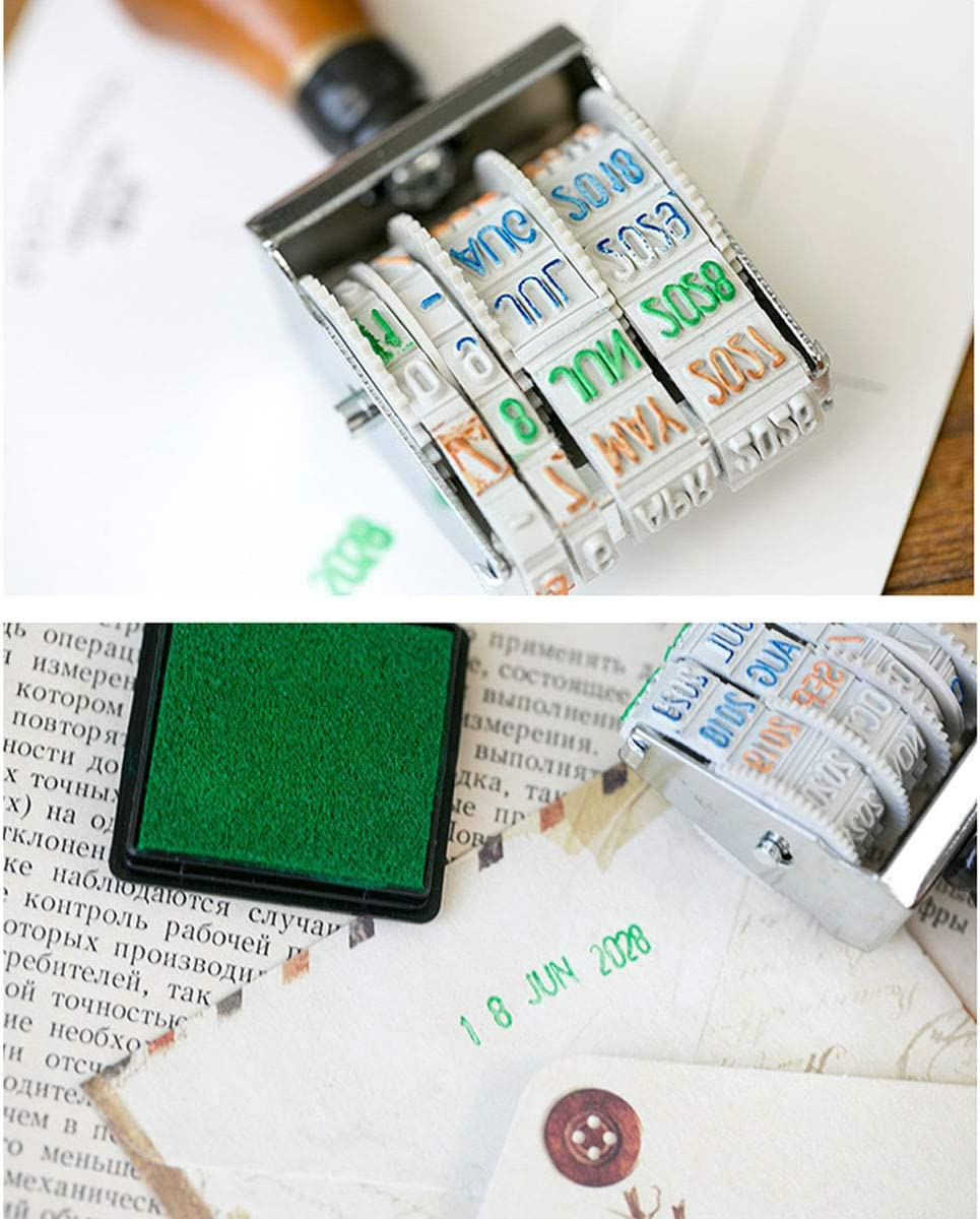Rubber Stamp for DIY Craft Card Making Planner Scrapbooking Supplies with Wooden Handle /& Base Warmsky Roller Date Stamp