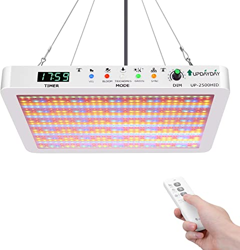 Updayday UP-2500H LED Plant Grow Light Full Spectrum Indoor Plant Lamps with Dimmable Timer and Daisy Chain Function for Planting Tent Hydroponics Greenhouse Bloom Veg Flowers