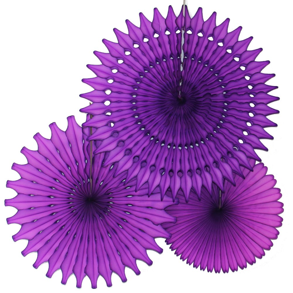 Hanging Honeycomb Tissue Fan, Purple, Set of 3 (13 inch, 18 inch, 21 inch)