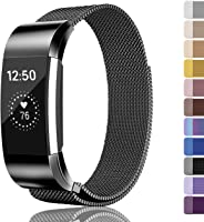Fundro Replacement Bands Compatible with Fitbit Charge 2 or Fitbit Charge 3,Stainless Steel Metal Bracelet Strap with...