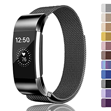 Fundro Replacement Bands Compatible with Fitbit Charge 2 or Fitbit Charge  3,Stainless Steel Metal Bracelet Strap with Unique Lock for Fitbit Charge 2
