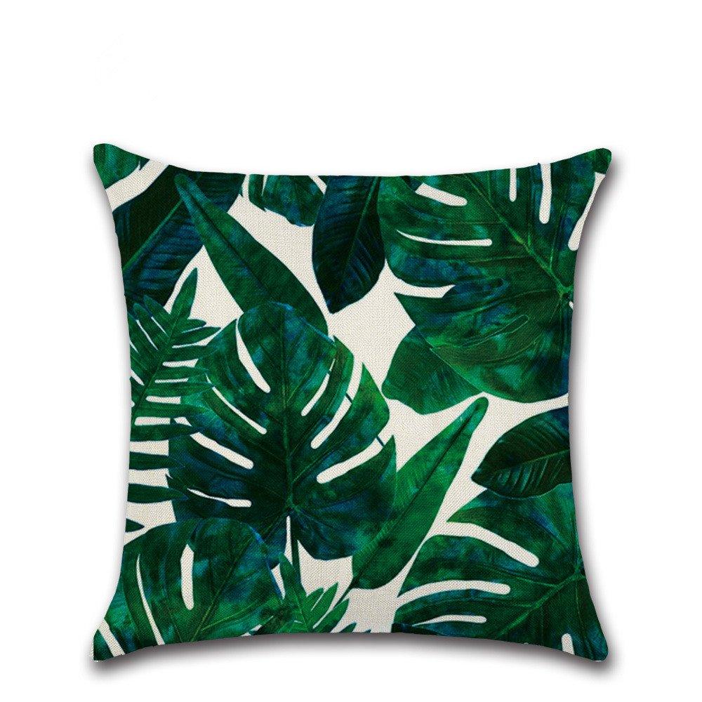 Leisial Funda de Cojín Almohada Algodón de Lino Plantas Tropicales Decorativos para Hogar Sofá Cama Coche 45*45cm 41VL13RI2V46YJWQ8RY