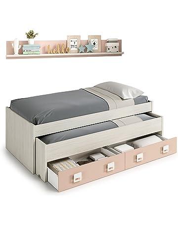 Cama nido con cajones y estantería incluida color blanco y rosa paste, conjunto dormitorio infantil
