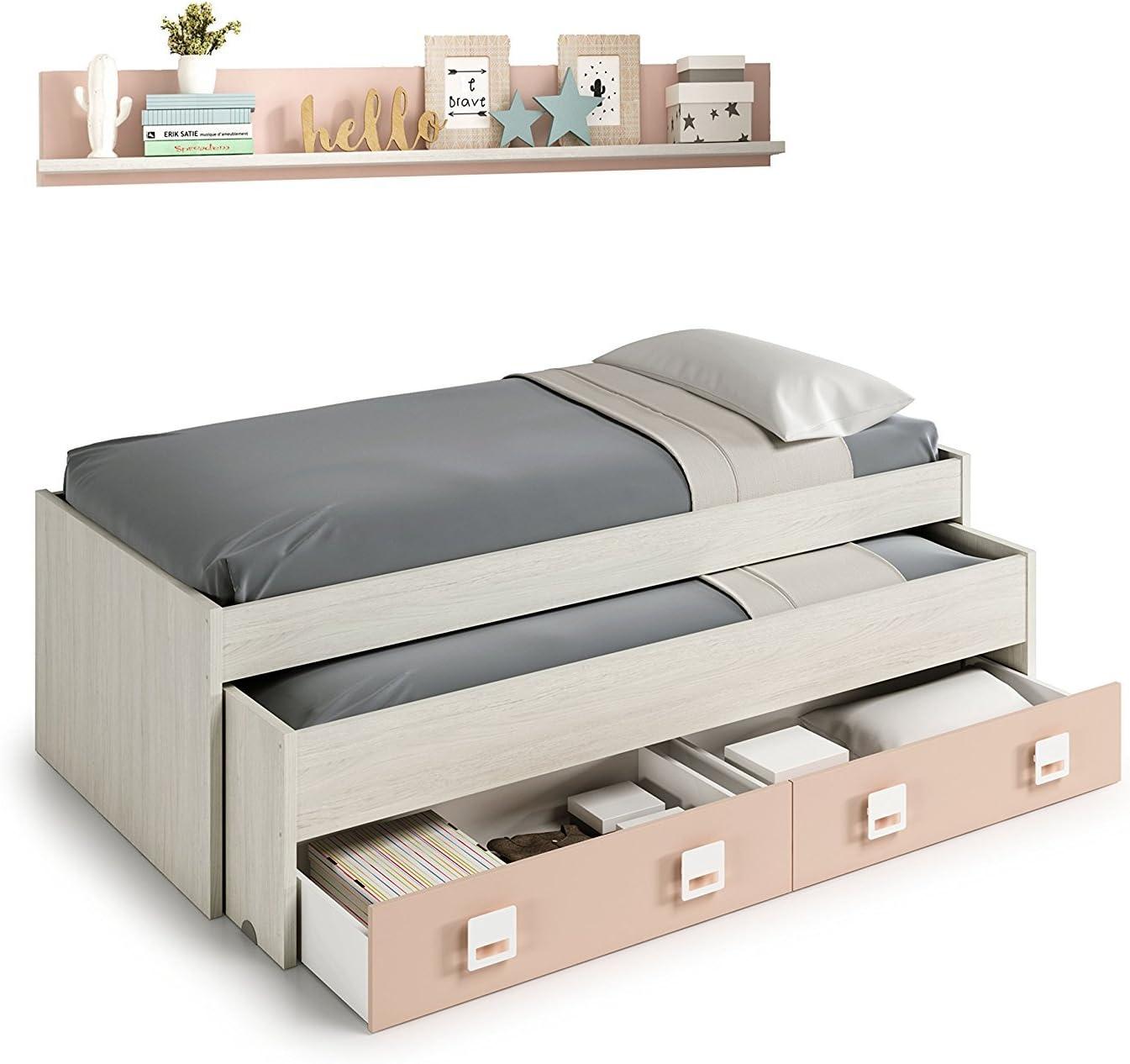Habitdesign 0M7449Y - Cama Doble + 2 cajones y un Estante, Acabado en Blanco Alpes y Rosa Pastel, Medidas: 199 cm (Largo) x 96 cm (Ancho) x 69 cm (Alto)