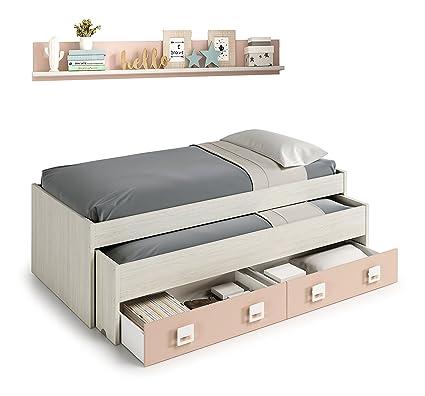 Cama nido con cajones y estantería incluida color blanco y rosa paste, conjunto dormitorio infantil juvenil (medida: 199cm de ancho x 69cm de altura x ...