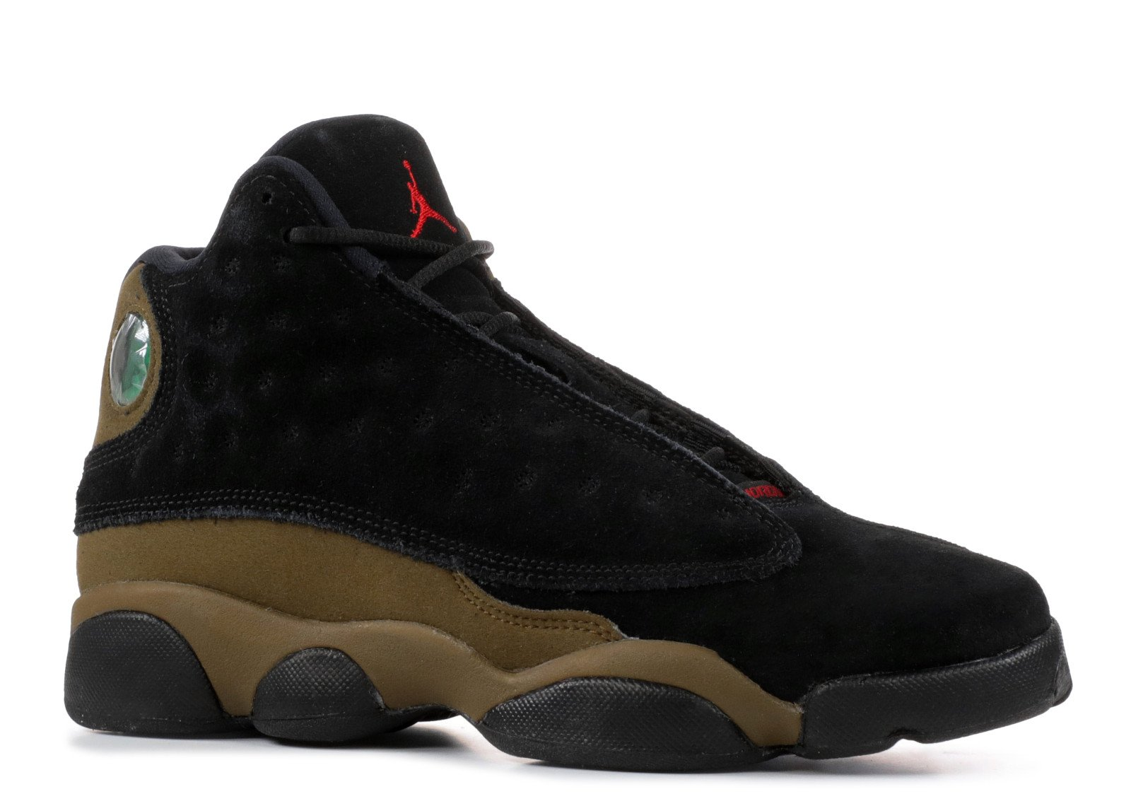 Jordan Air 13 Retro BG Big Kids Sneakers Black/Gym Red/Light Olive 884129-006 (7 M US)