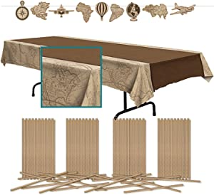 Beistle Around The World Travel Décor Party Bundle | Table Cover, Large Streamer Banner, Paper Straws | Going Away, Coming Home Parties, Globe Events