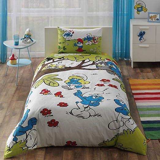 Tac Pitufos Juego completo de sábanas tipo sábana estándar tejido algodón Tema ropa de cama bebé niños número de fundas de almohada 1 pieza: Amazon.es: Hogar