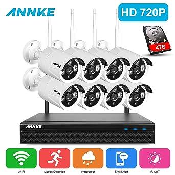 ANNKE 720P Wifi 8CH Kit de Seguridad Sistema de Vigilancia 8 Cámaras Inalámcrica (CCTV HD