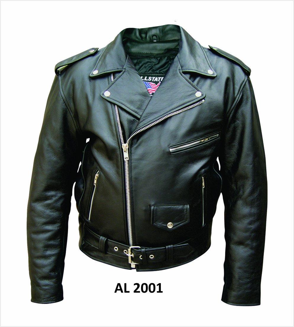 Amazon.com: Men's Basic motorcycle jacket split plain cowhide ...