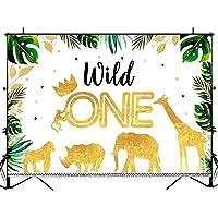 Mocsicka Safari Wild One Birthday Backdrop Gold Animals Crown Wild One Photography Background 7x5ft Boy First Birthday Vinyl Background Wild One Birthday Decorations Banner