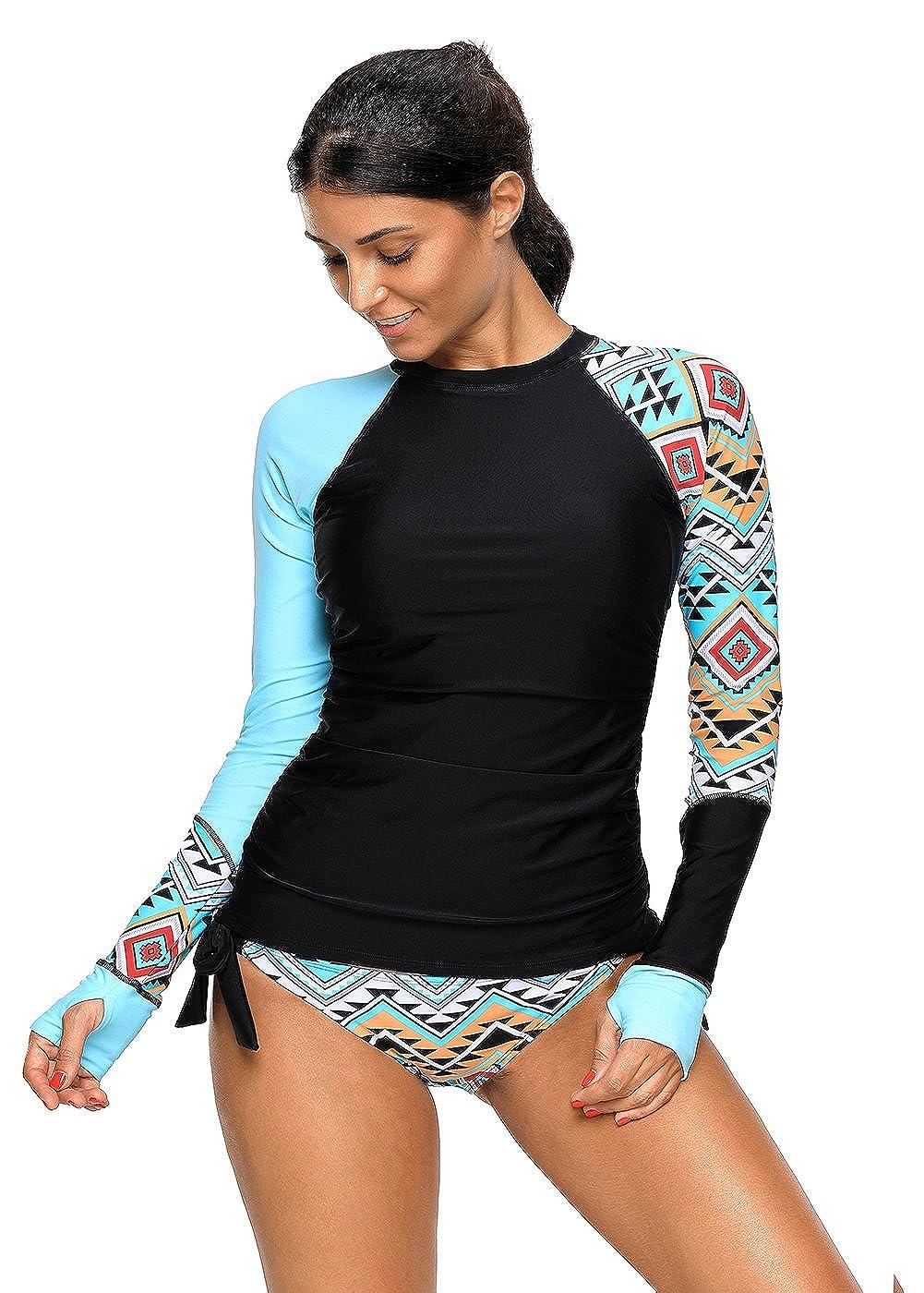 Shawhuwa Womens Long Sleeve Vibrant Print Rash Guard Swim Shirt Tankini Swimsuit S2A410485