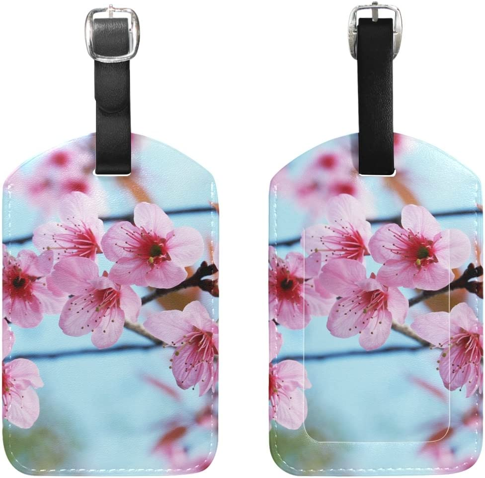 Chen Miranda Spring Flower Luggage Tag PU Leather Travel Suitcase Label ID Tag Baggage claim tag for Trolley case Kids Bag 1 Piece