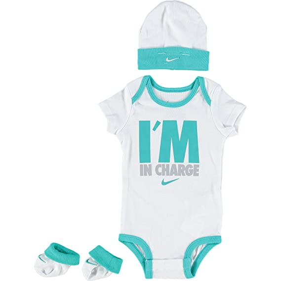 Nike New 3 Piece White & Teal Colour I'm In Charge Bodysuit, Beanie