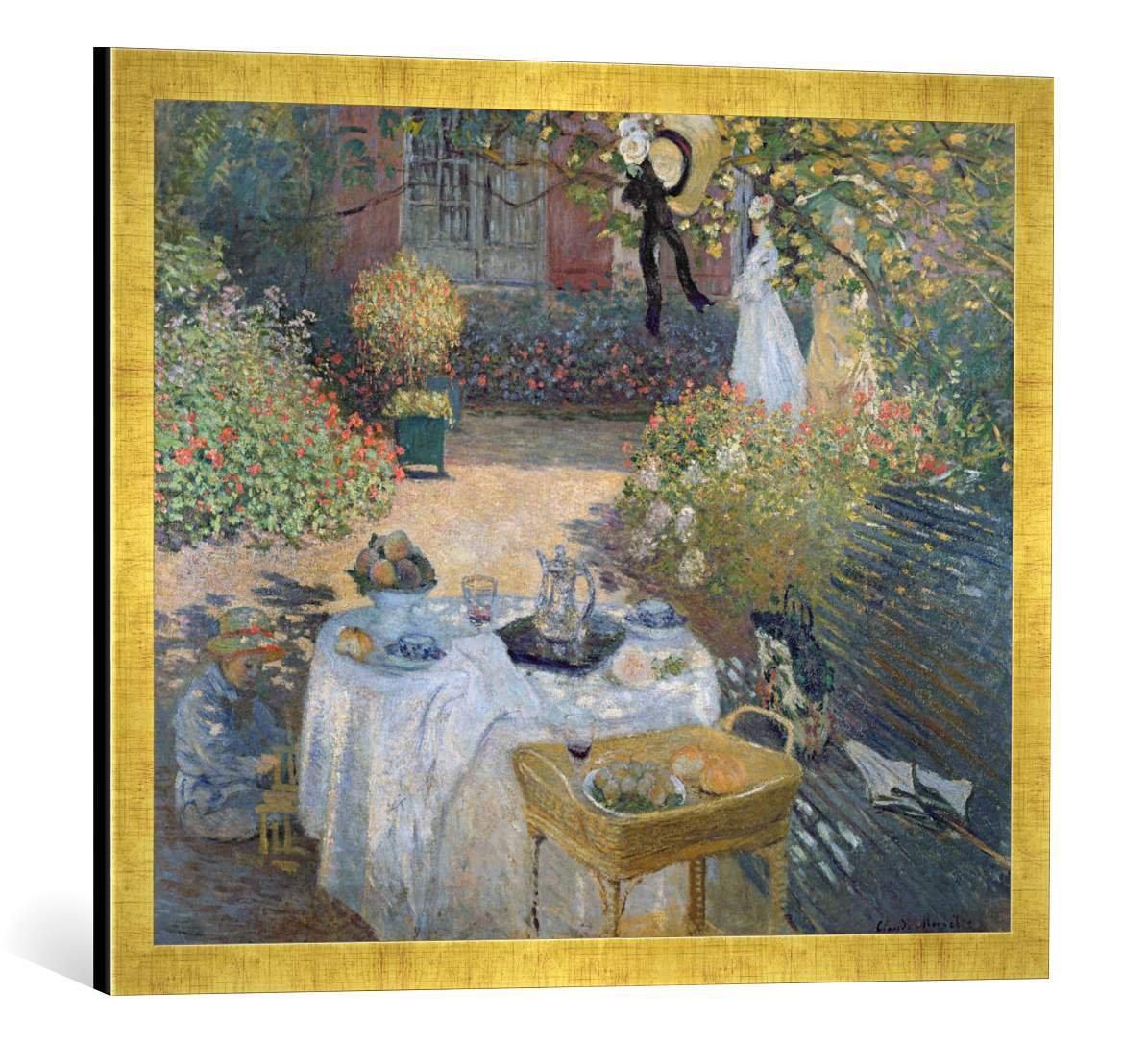 Gerahmtes Bild von Claude Monet The Luncheon: Monet's Garden at Argenteuil, c.1873, Kunstdruck im hochwertigen handgefertigten Bilder-Rahmen, 70x50 cm, Gold Raya