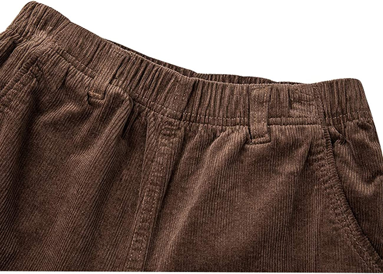 Bigassets Women's Elastic Waist Straight Trousers Corduroy Pants Khaki