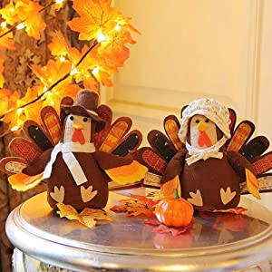 FORUP Standing Turkey Couple Thanksgiving Decoration for Autumn Fall Thanksgiving Harvest Home Decor