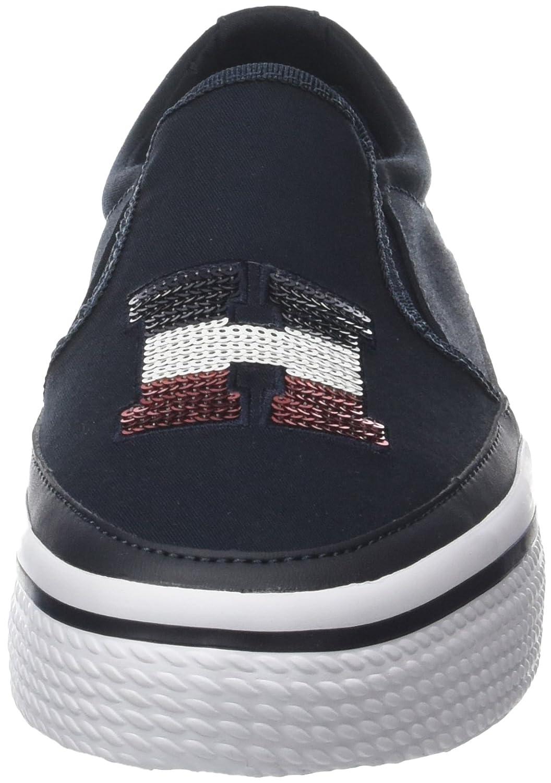 Tommy Hilfiger Hilfiger Tommy Damen Sequins Flatform Sneaker Blau (Midnight 403) 0702b6