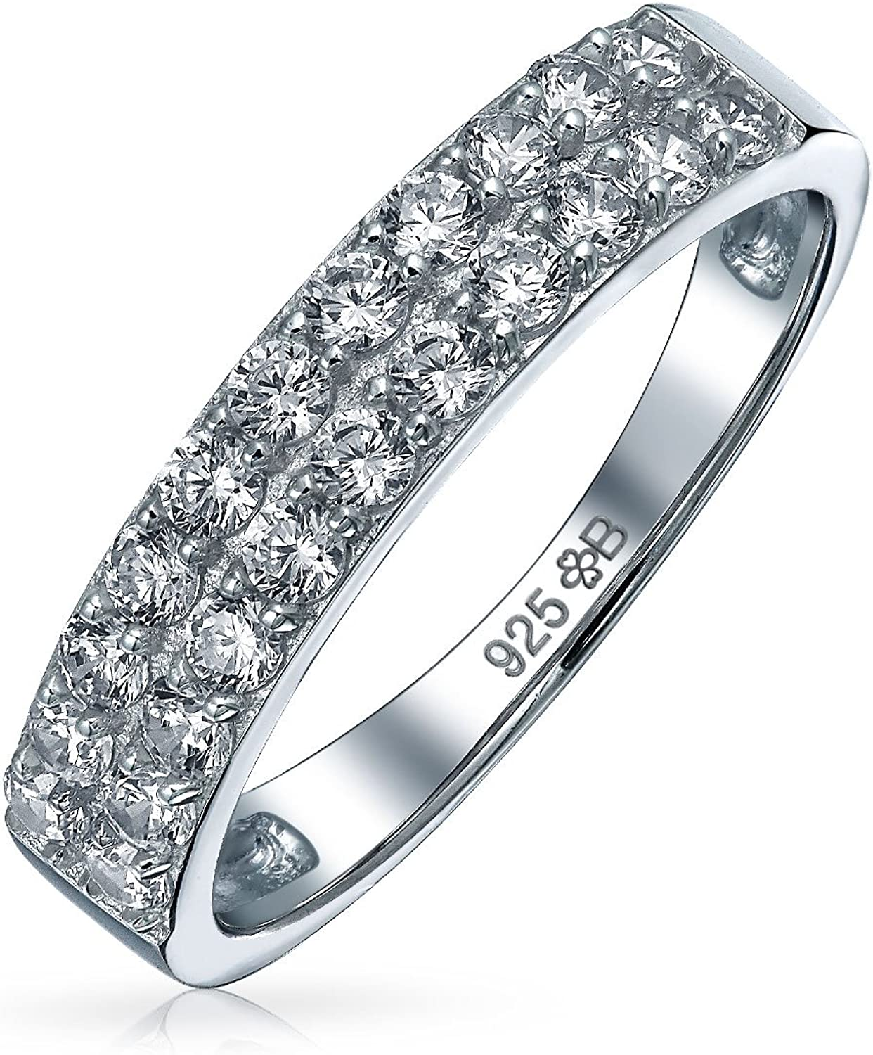 .925 Sterling Silver STACKABLE ETERNITY DESIGN CLEAR CZ BAND RING 3MM