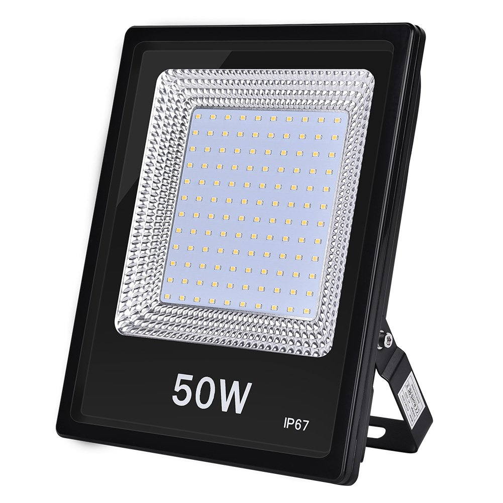 (New Version) 100W LED Floodlight, Waterproof IP67 Outdoor Spotlight, 10000LM 3000K Super Bright Security Light for Garden, Courtyard, Terrace, Square, Factory, AC 220V-240V (Warm White, 100W) Yuanline