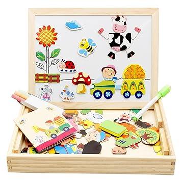 Lewo Magnetisches Holzpuzzle Baby Lernspielzeug Geschenk Fur Kinder
