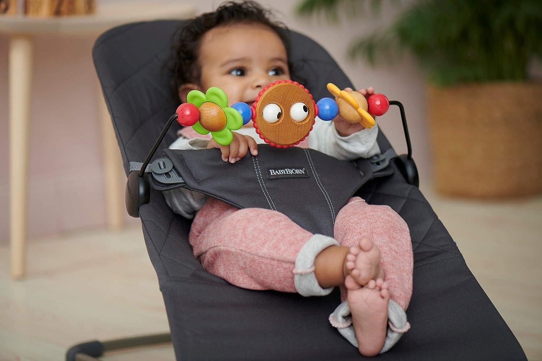 inklusive Spielzeug f/ür Babywippe Fr/öhliche Augen BabyBj/örn Babywippe Bliss Anthrazitgrau Baumwolle